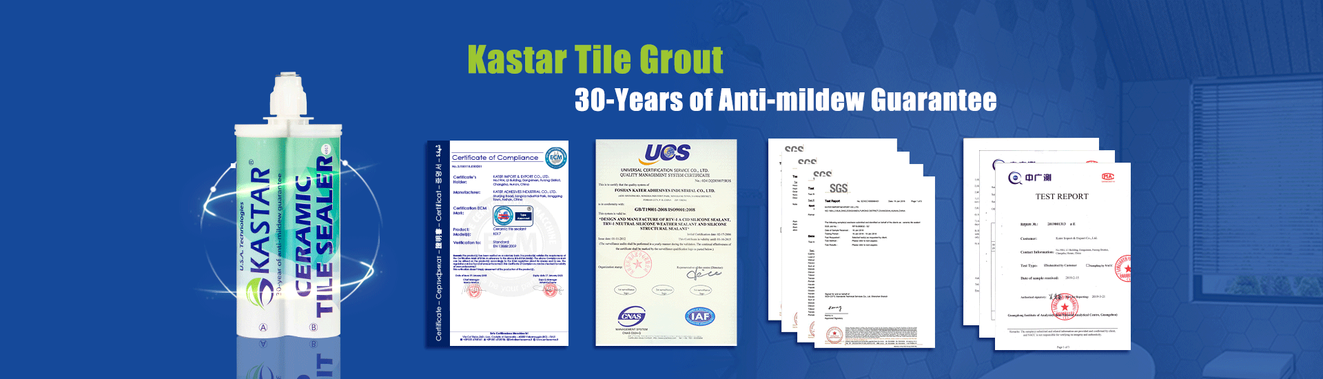 Certificates of Kastar grout